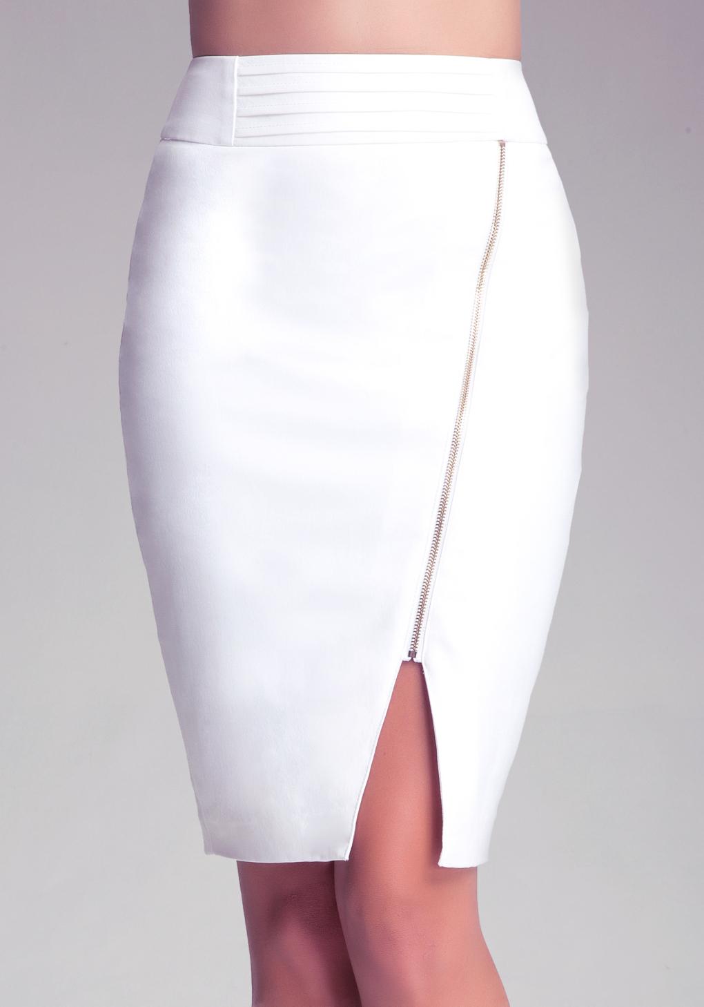 bebe asymmetric zip pencil skirt in white lyst