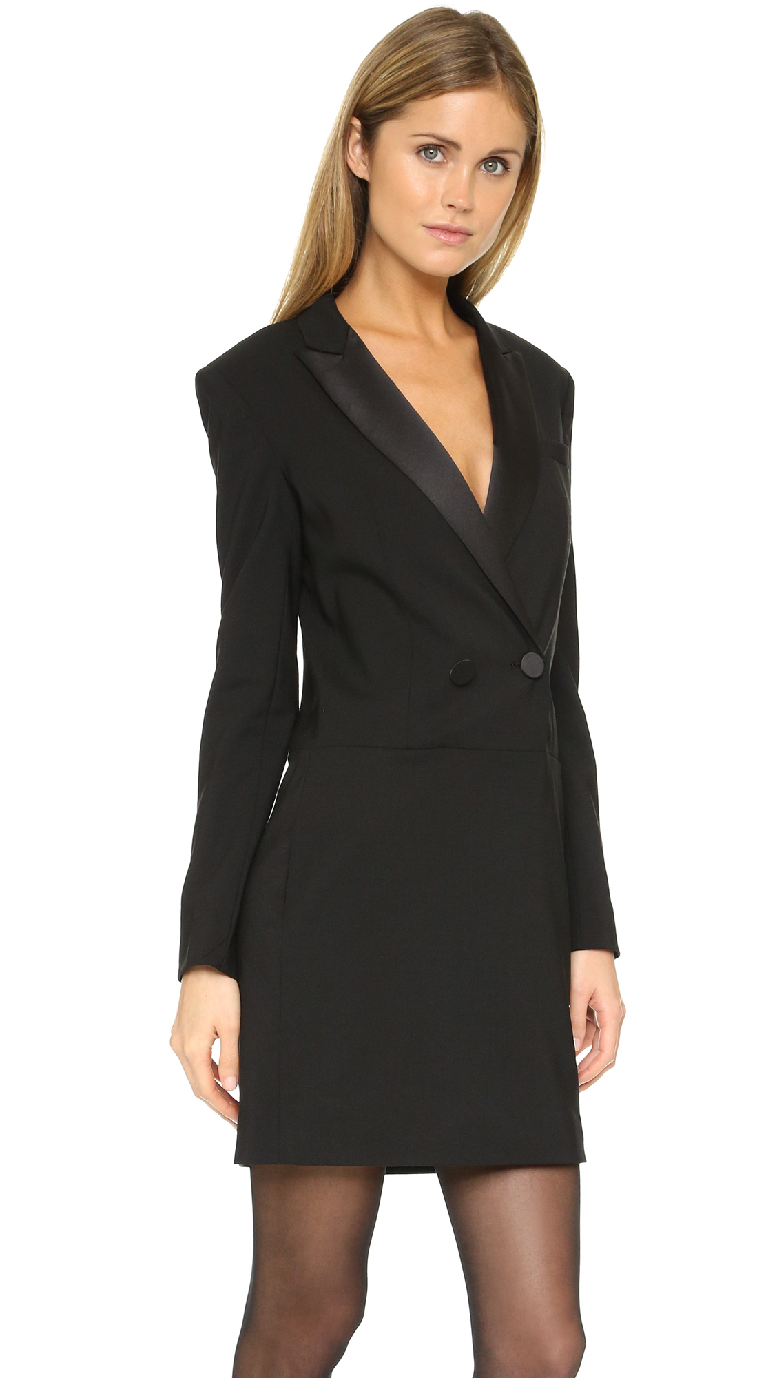 Dkny Long Sleeve Tuxedo Dress In Black Lyst