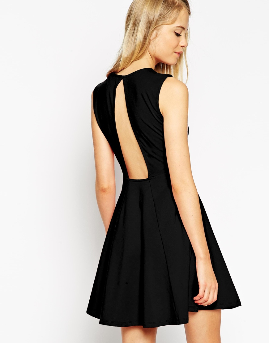 214558d69d3 Lyst Asos Sleeveless Skater Dress With Cut Out Back Detail In Black