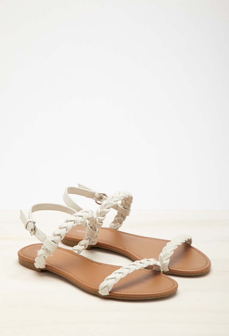 027dbd805e5 Forever 21 Braided Faux Leather Slingback Sandals in White - Lyst