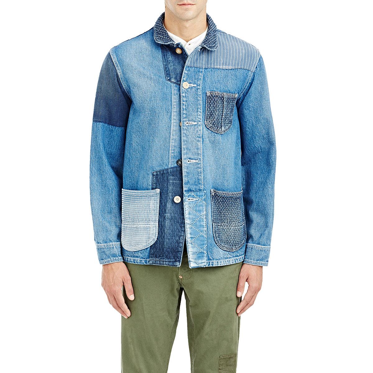 Fdmtl Menu0026#39;s Patchwork Denim Jacket in Blue for Men   Lyst