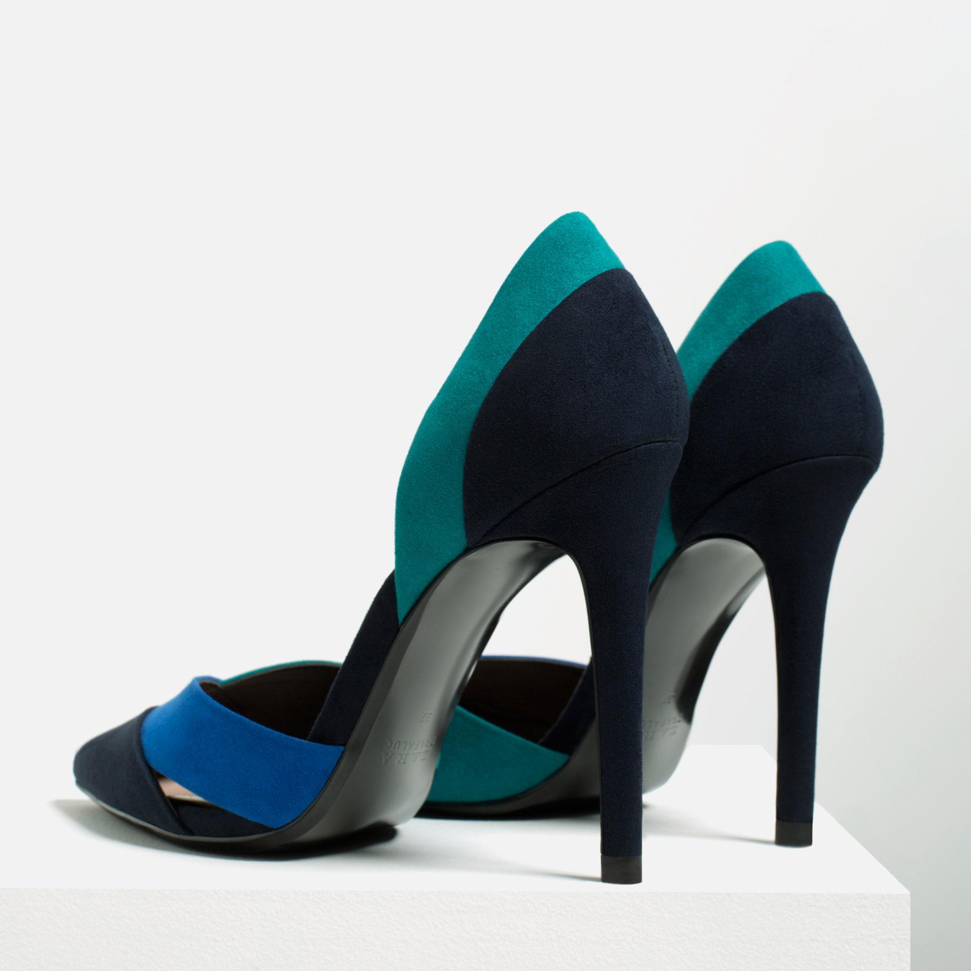 zara three colour high heel shoes in blue lyst