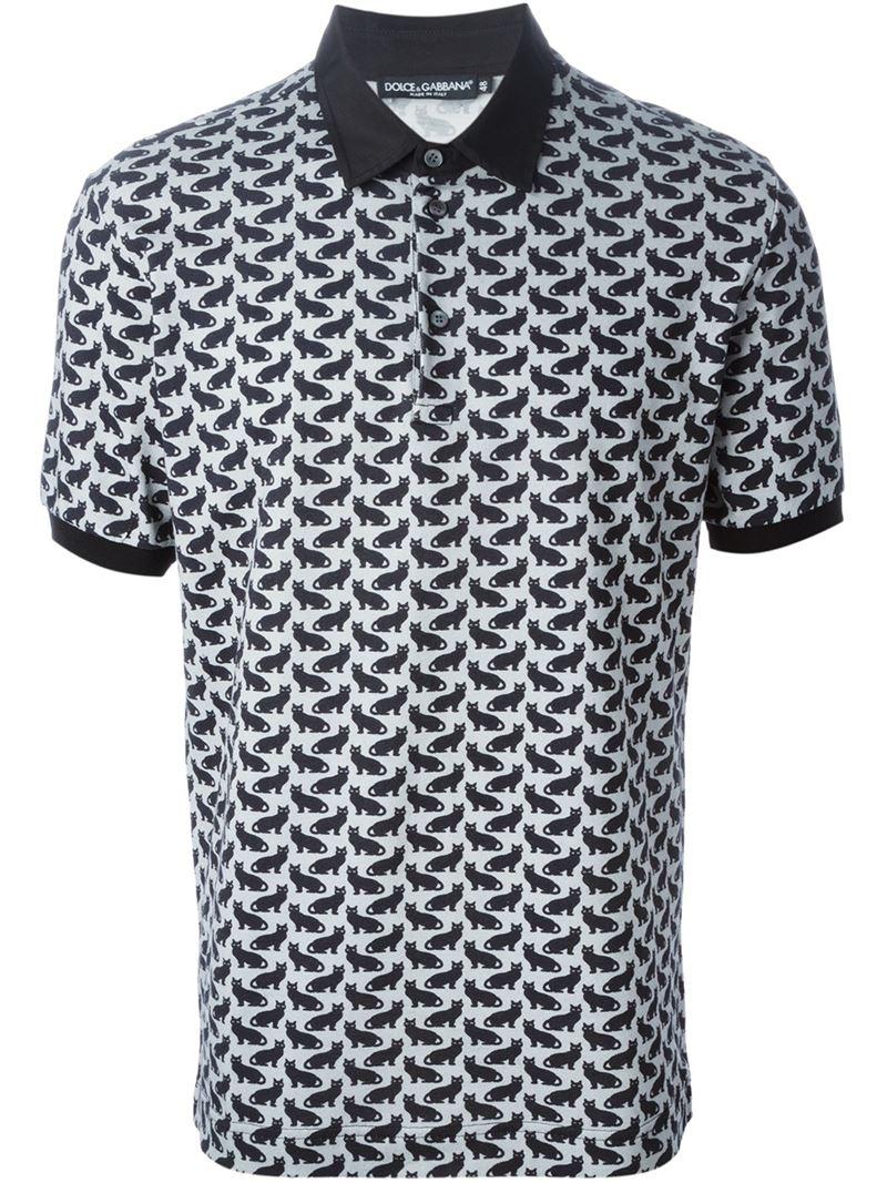 Dolce & gabbana Cat Print Polo Shirt in Gray for Men