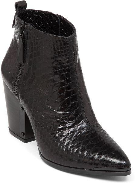 Vince Camuto Amori Embossed Leather Ankle Boots In Animal