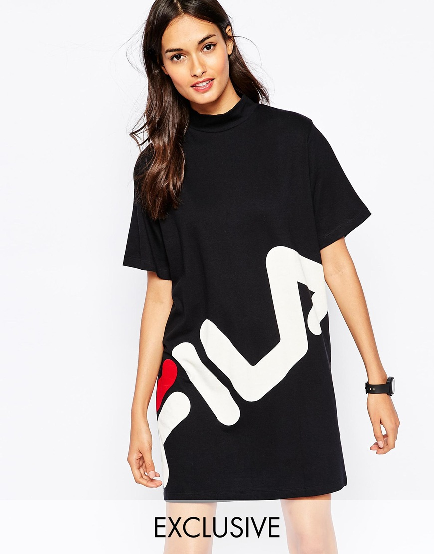 2d015444d5 Fila High Neck T-shirt Dress With Large Front Logo in Black - Lyst