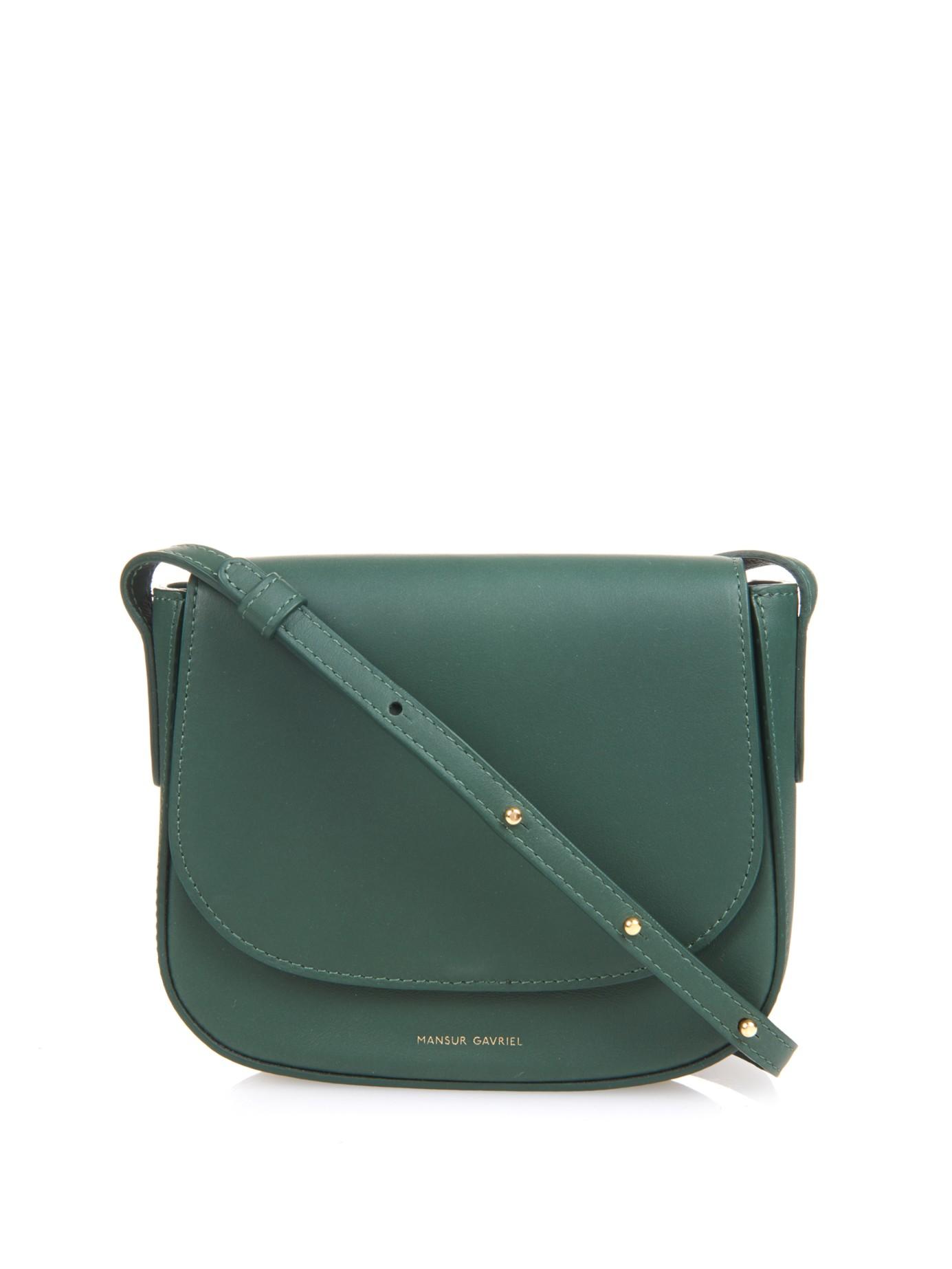 Dark Green Leather Cross Body Bag