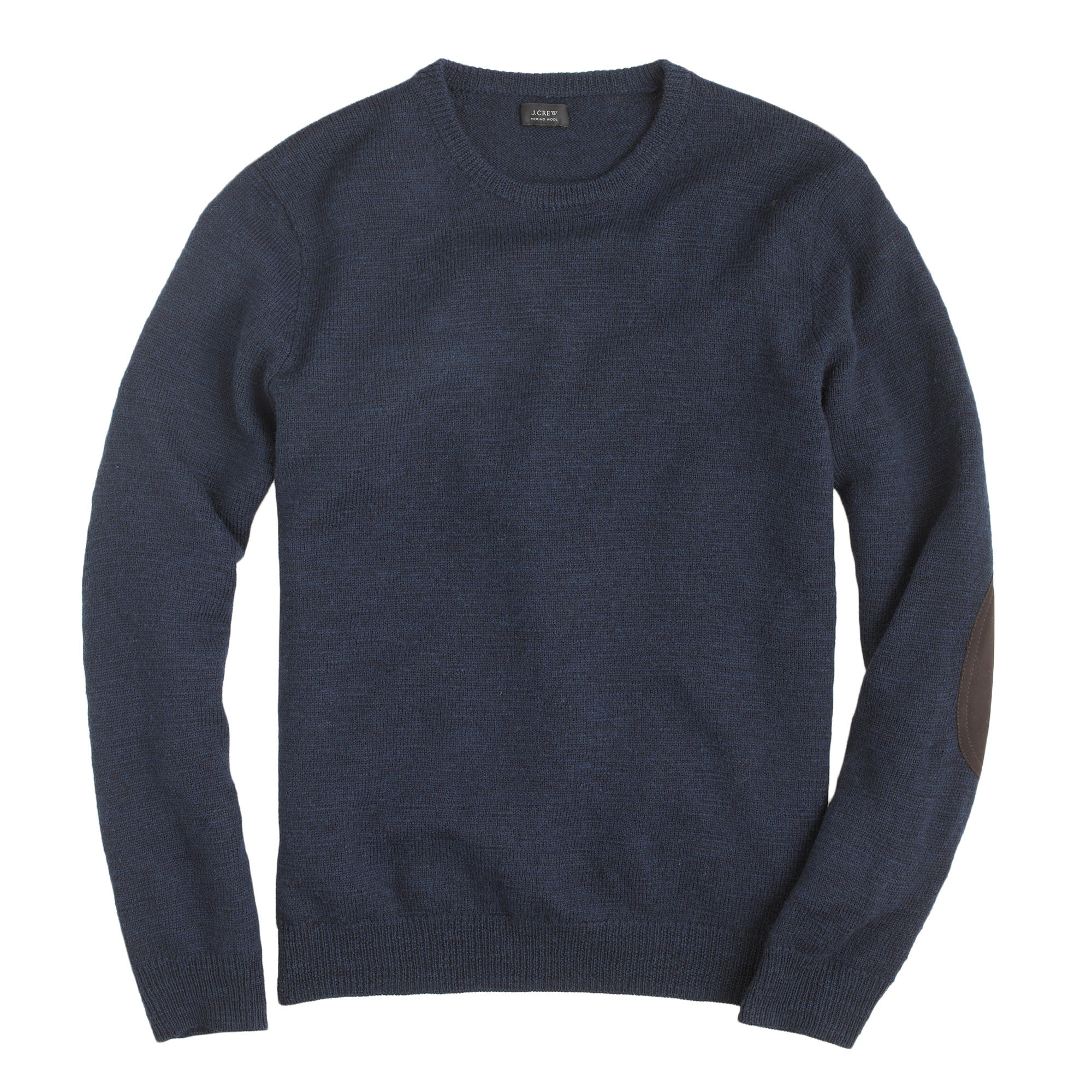 J crew tall rustic merino elbow patch sweater in blue for
