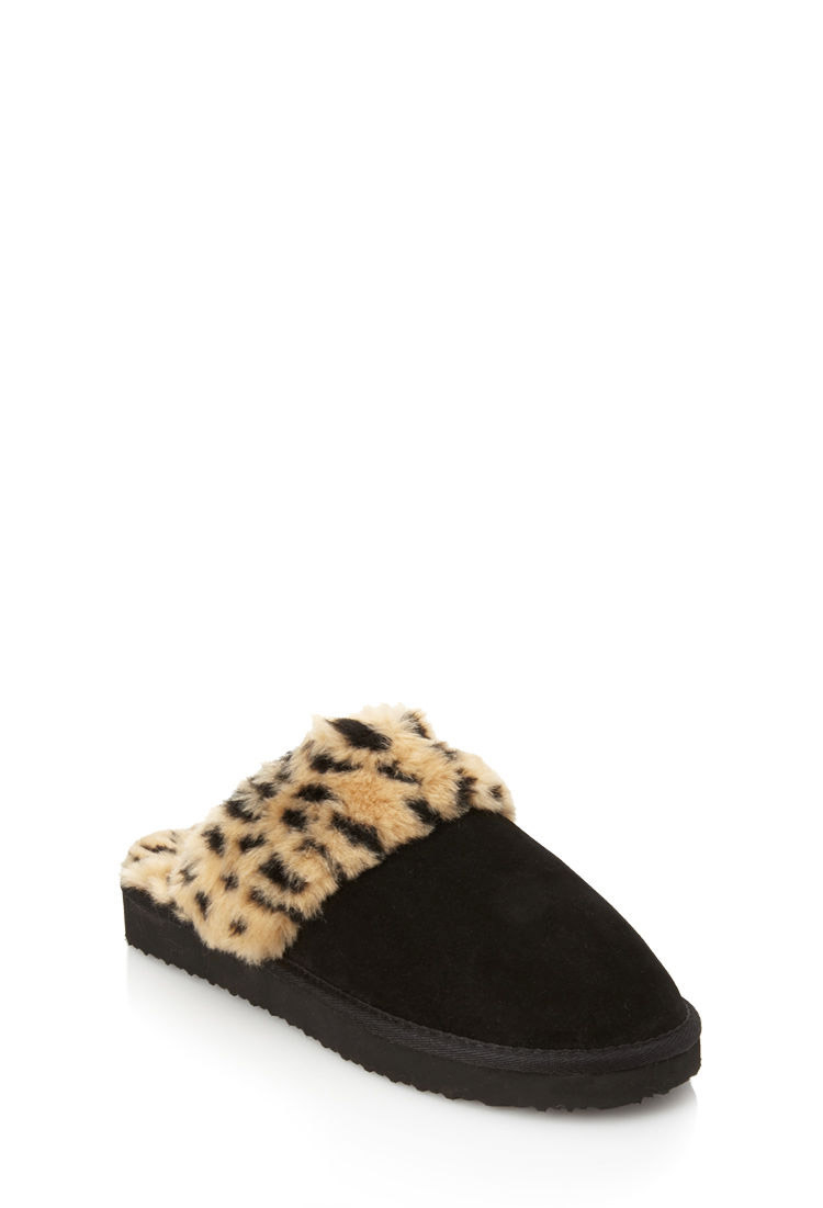 69ac0e283641 Lyst - Forever 21 Cheetah Print Faux Fur Slippers in Black