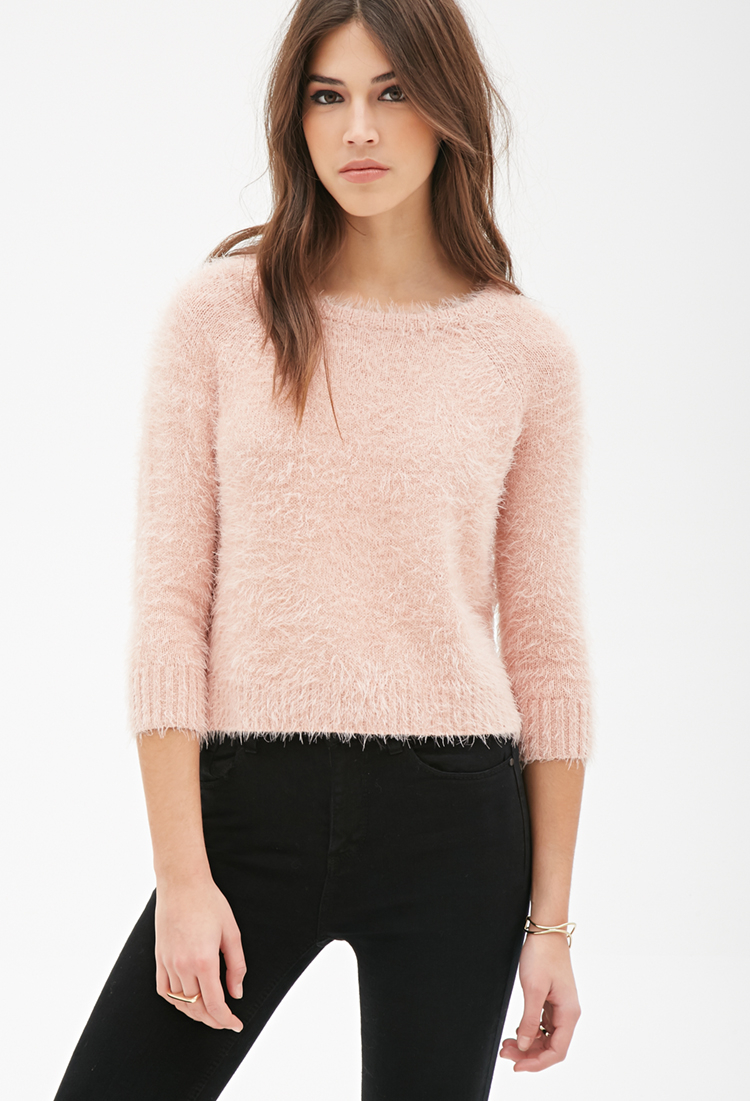 Lyst Forever 21 Boxy Fuzzy Knit Sweater In Pink