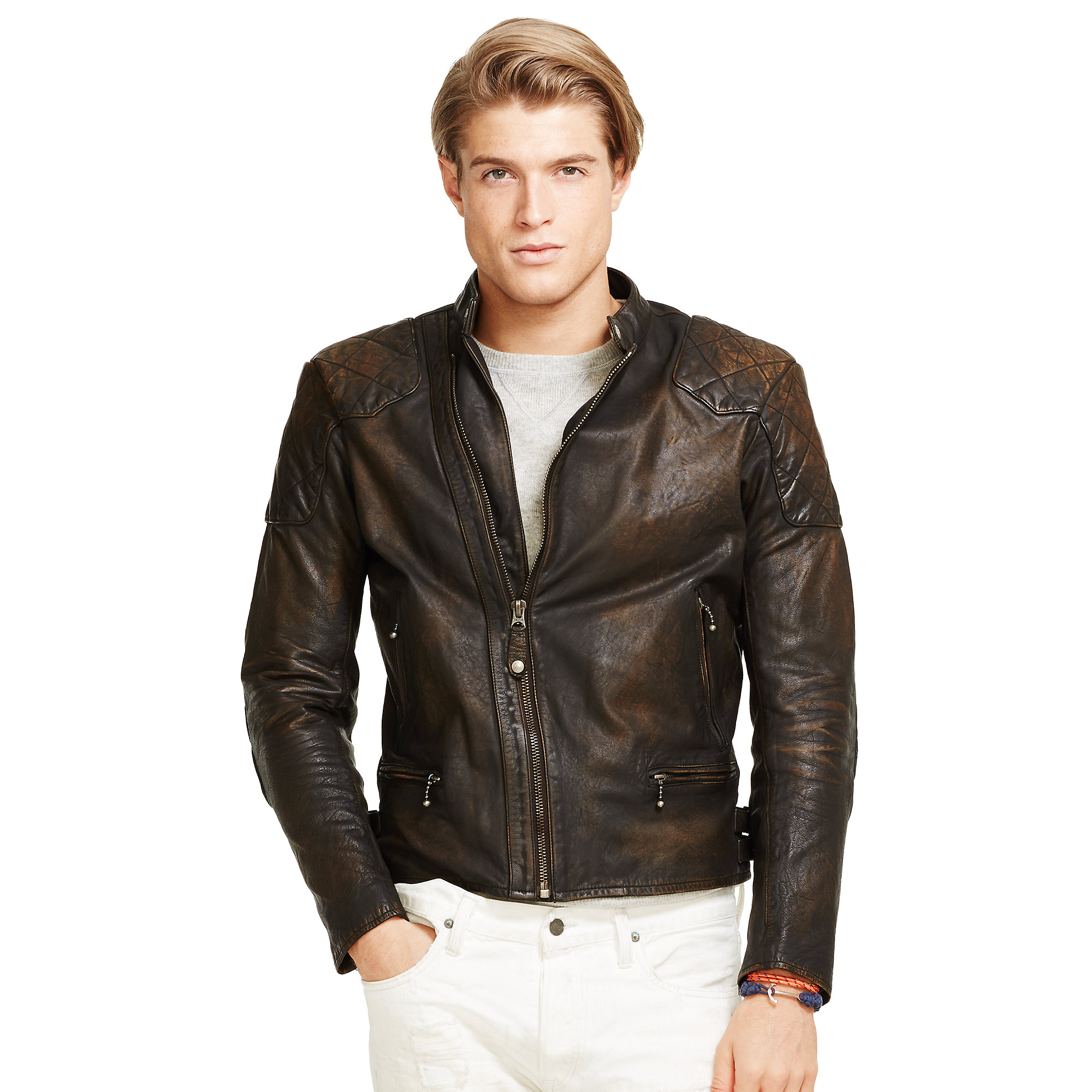 da5136043b9 Lyst - Polo Ralph Lauren Leather Café Racer Jacket in Brown for Men
