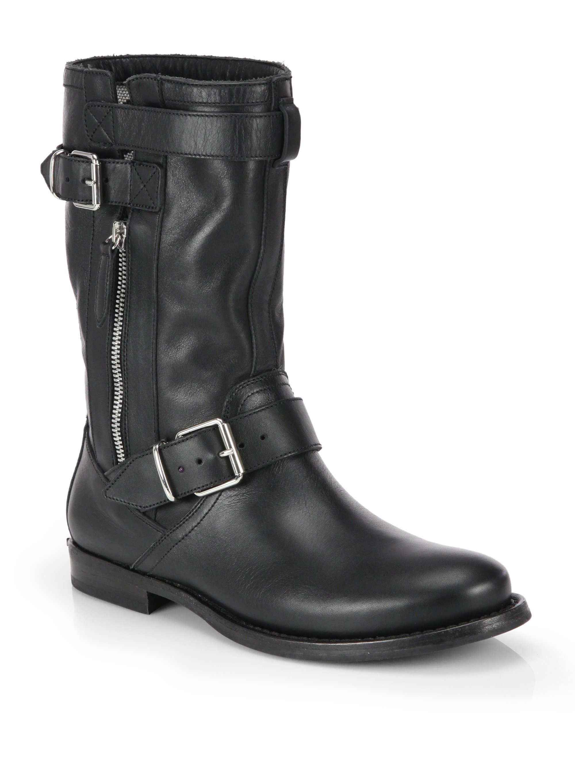 Burberry Grantville Leather Buckle Mid Calf Boots In Black