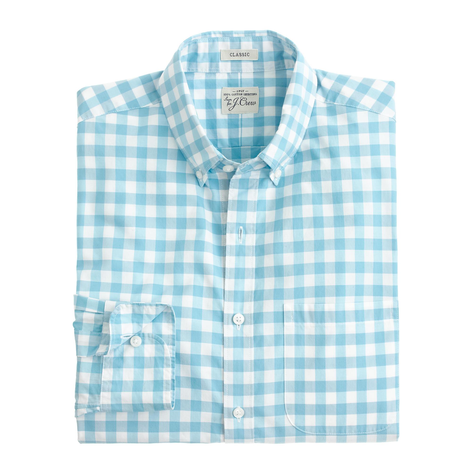 Secret wash shirt in light turquoise gingham in for Aqua blue mens dress shirt