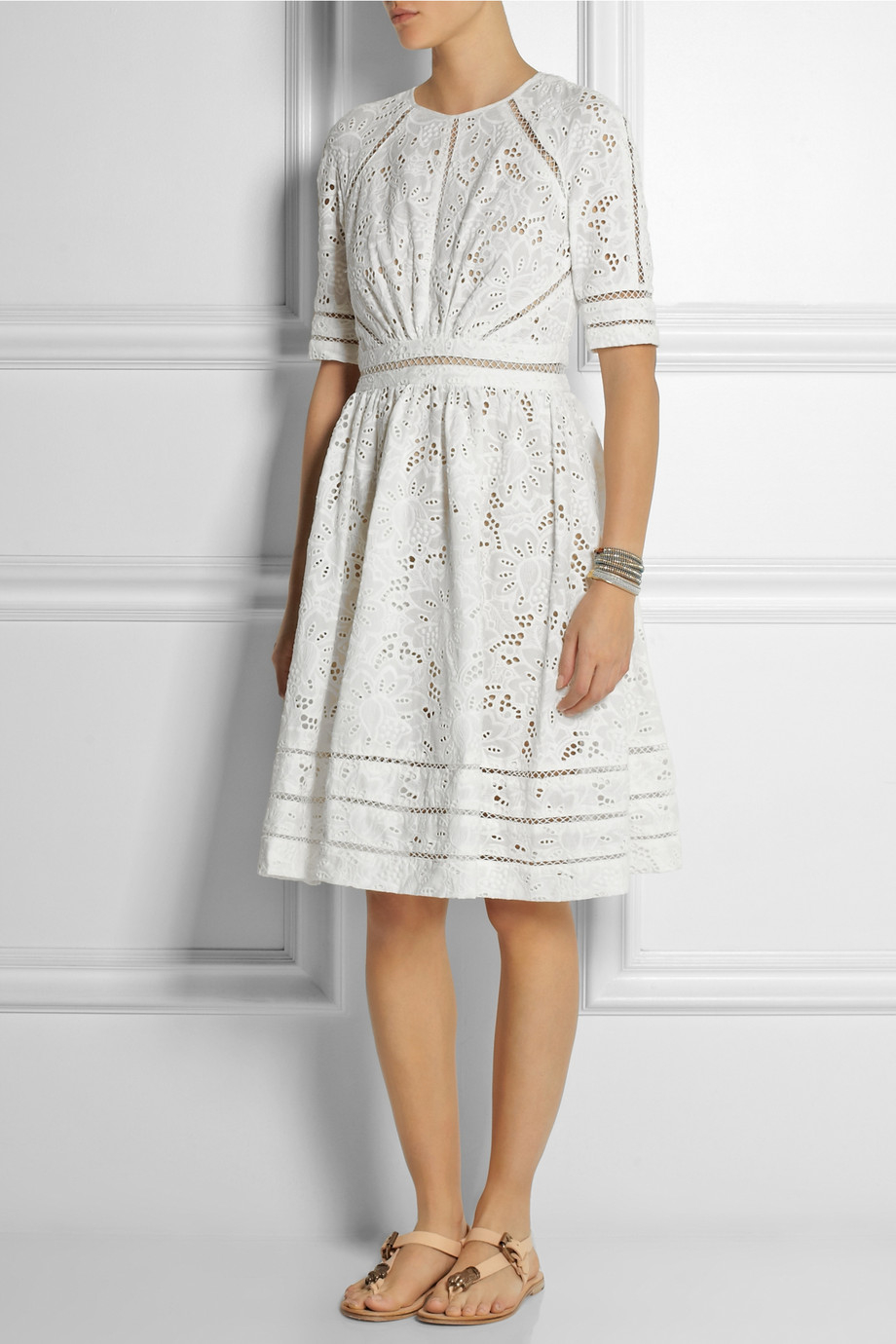 Zimmermann Roamer Broderie Anglaise Cotton Dress In White