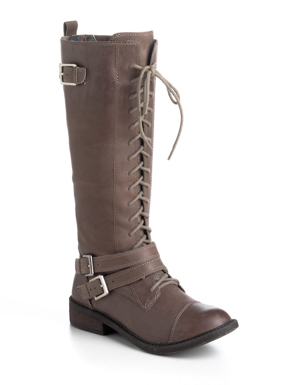 lucky brand neel leather lace up boots in brown lyst
