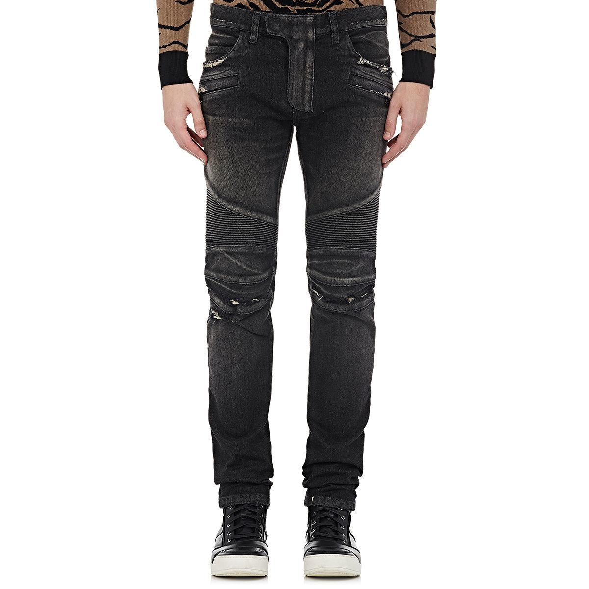balmain biker jeans in black for men lyst. Black Bedroom Furniture Sets. Home Design Ideas