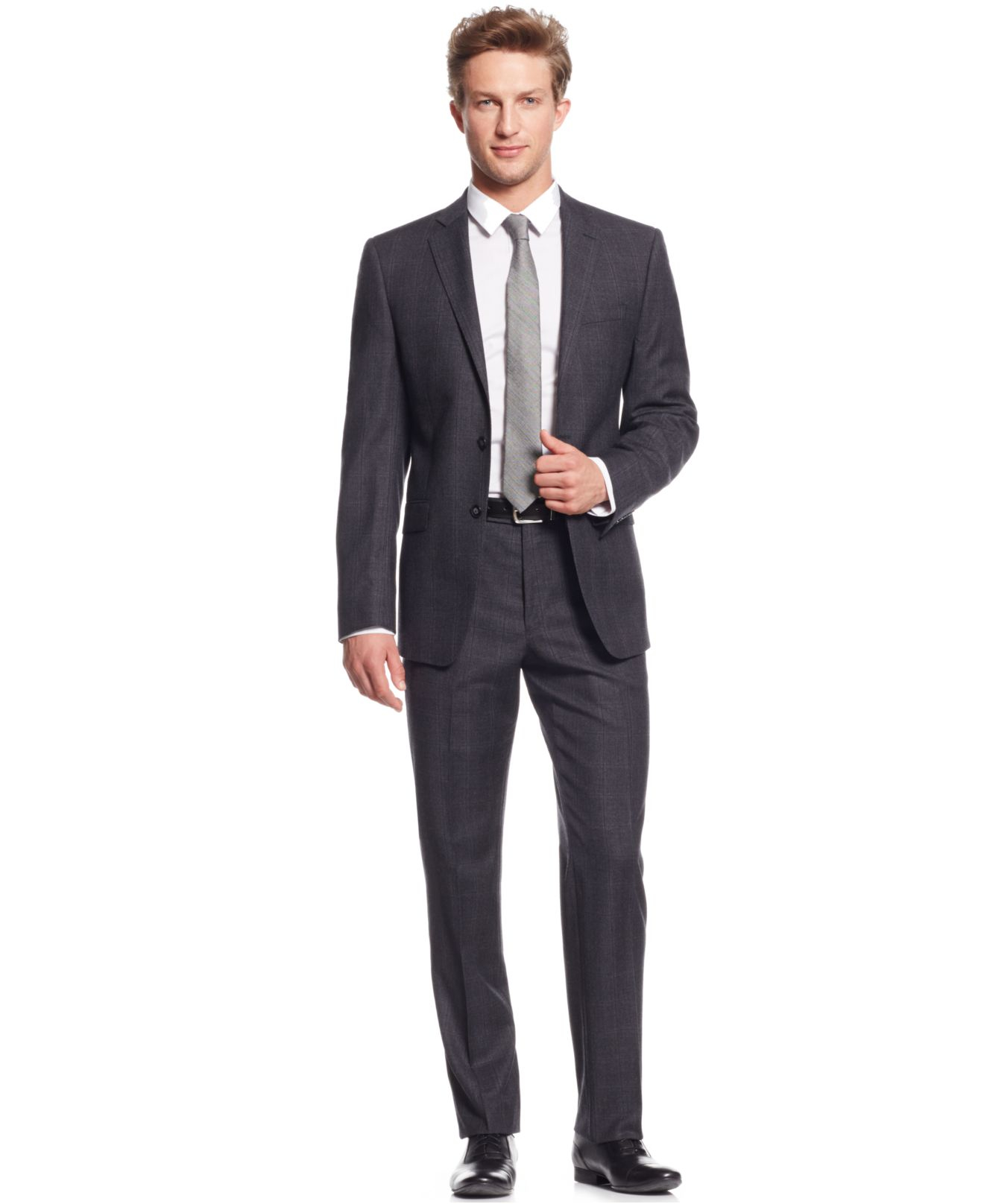 Calvin klein Grey Plaid Flannel Extra Slim-fit Suit in Gray for