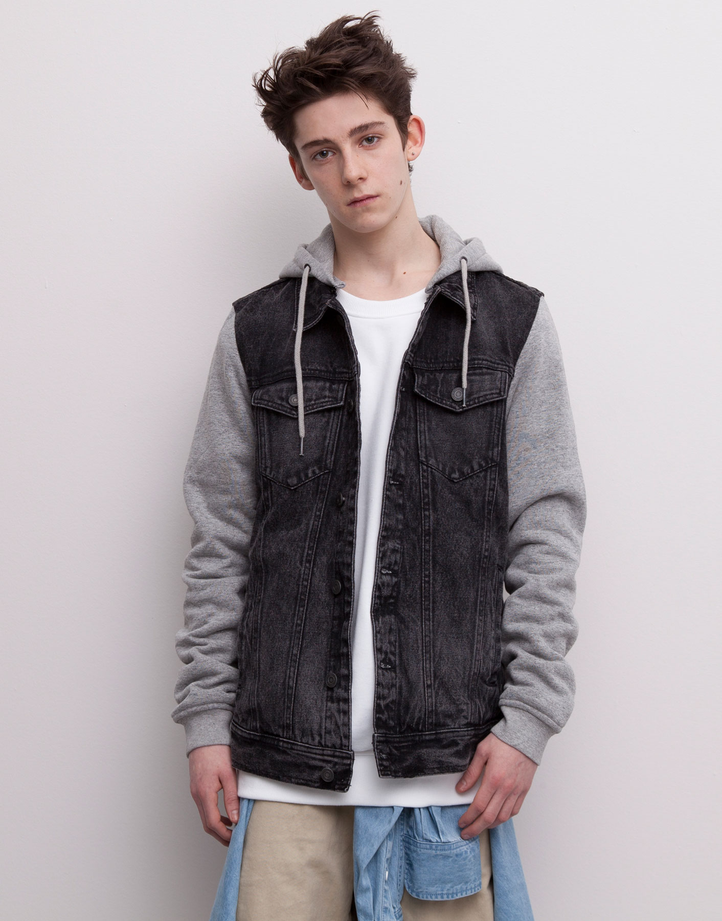 Pull&bear Combined Denim Jacket With Velour Sleeves And ...