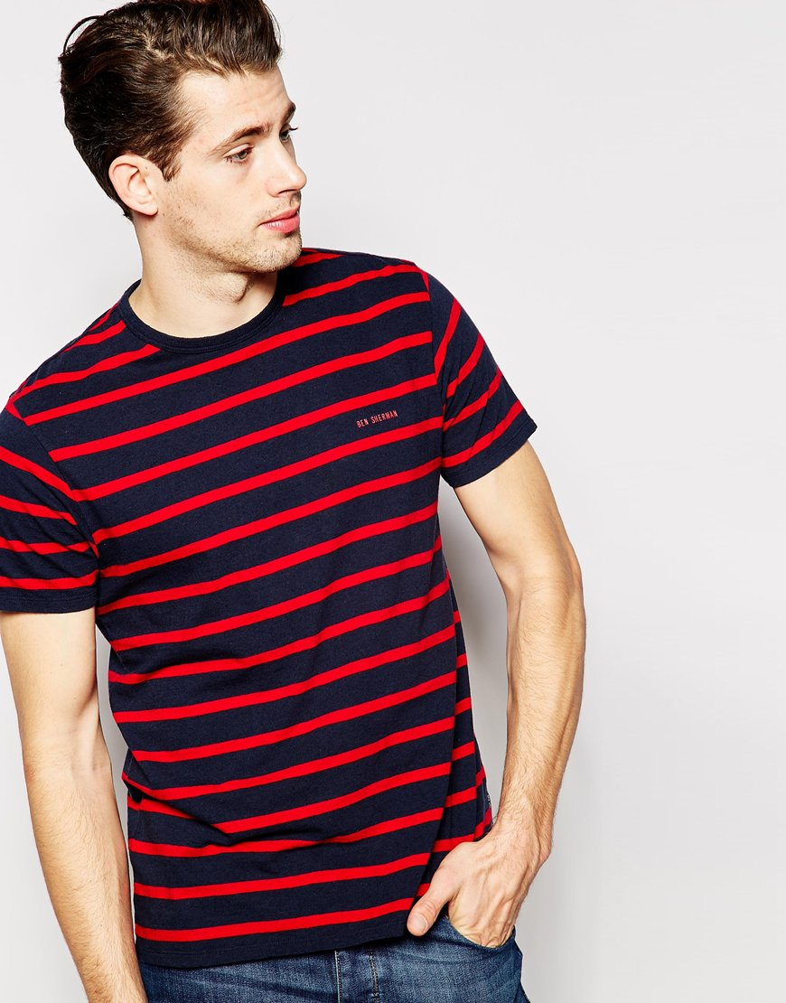 ben sherman t shirt breton stripe in blue for men lyst. Black Bedroom Furniture Sets. Home Design Ideas