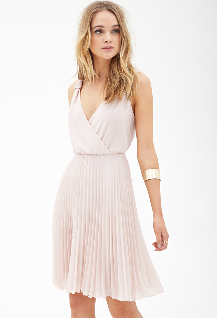 Forever 21 Pleated Chiffon Dress In Pink Blush Lyst