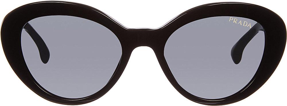 91fa3d04e0 ... shop lyst prada 15qs portrait oval sunglasses black in black 11633 8cde8