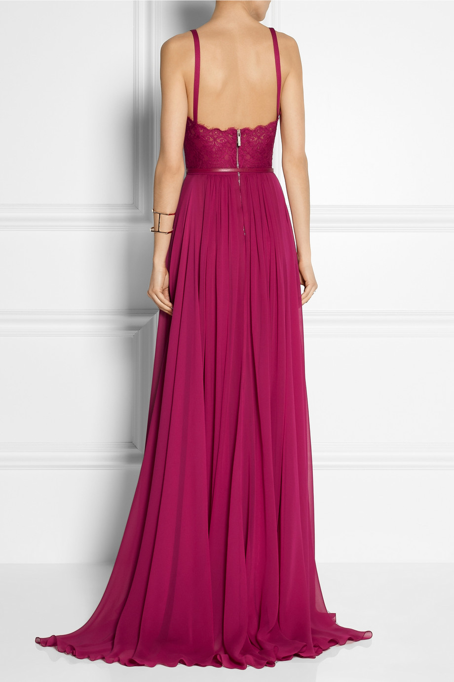e043d821255 Lyst - Elie Saab Georgette and Lace Gown in Pink