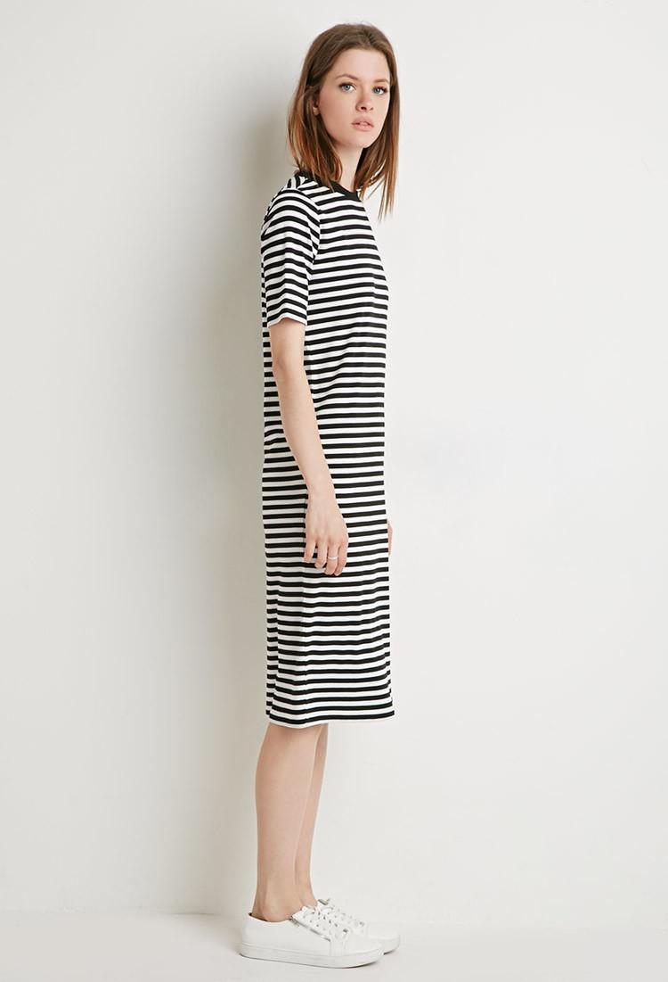 Forever 21 stripe t shirt midi dress in black lyst for Midi shirt dress black
