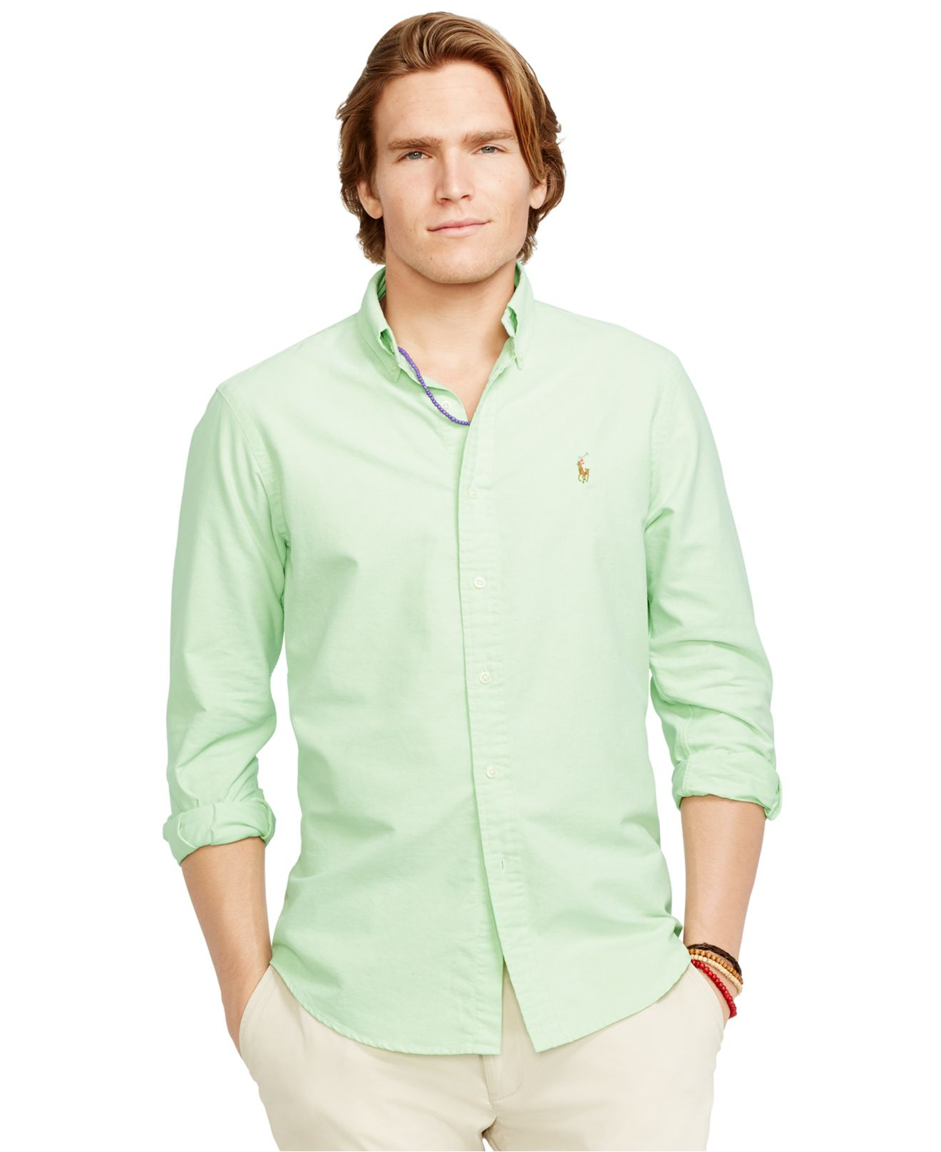 f243ef8bf Polo Ralph Lauren Solid Oxford Shirt in Green for Men - Lyst