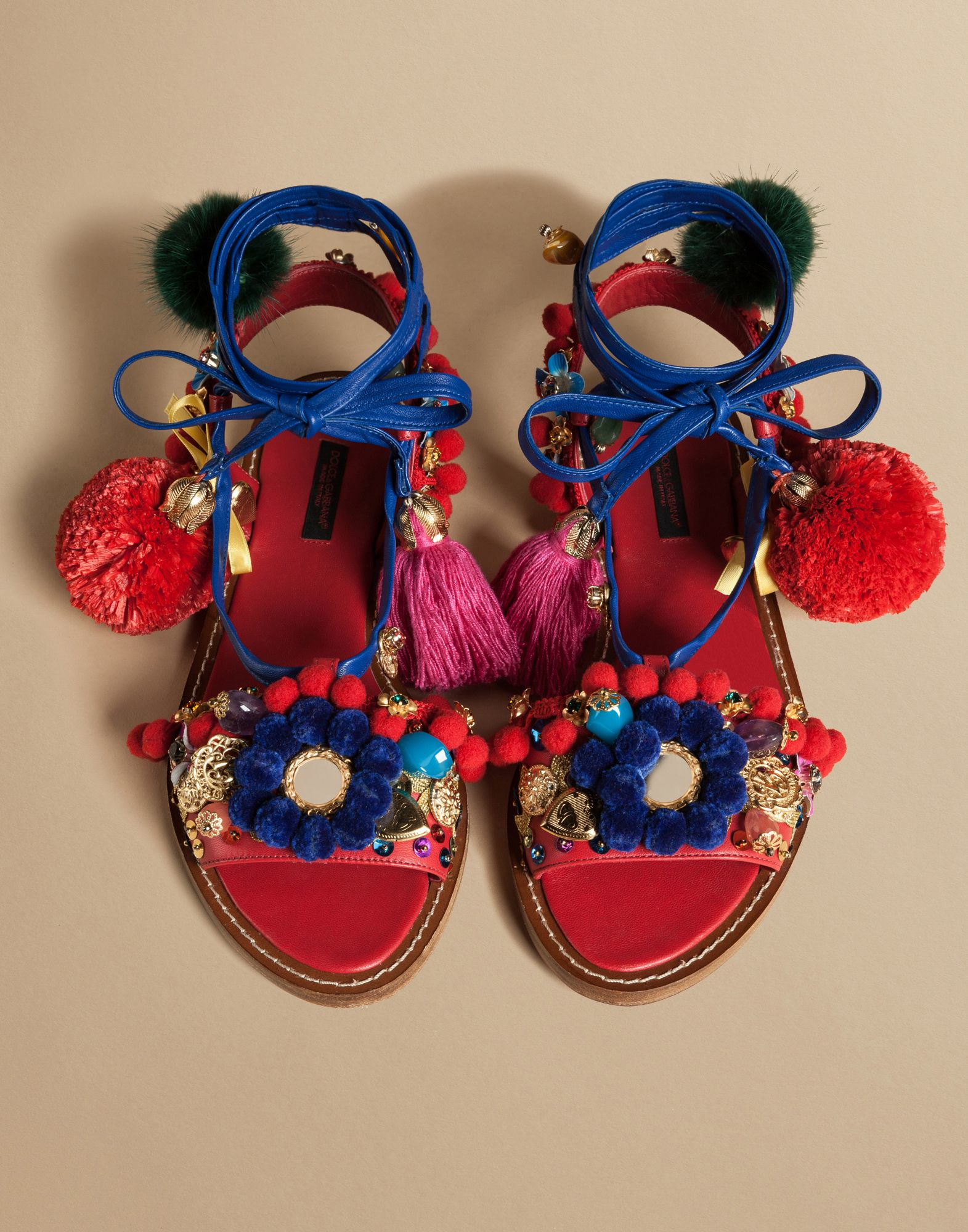 Dolce & Gabbana Pom-Pom Leather Lace-Up Sandals in Red