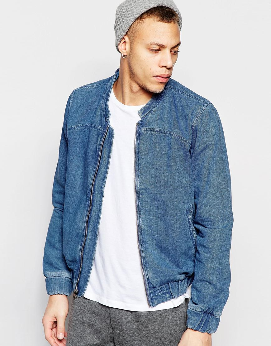 Wåven Denim Bomber Jacket Halsten Used Blue in Blue for Men | Lyst