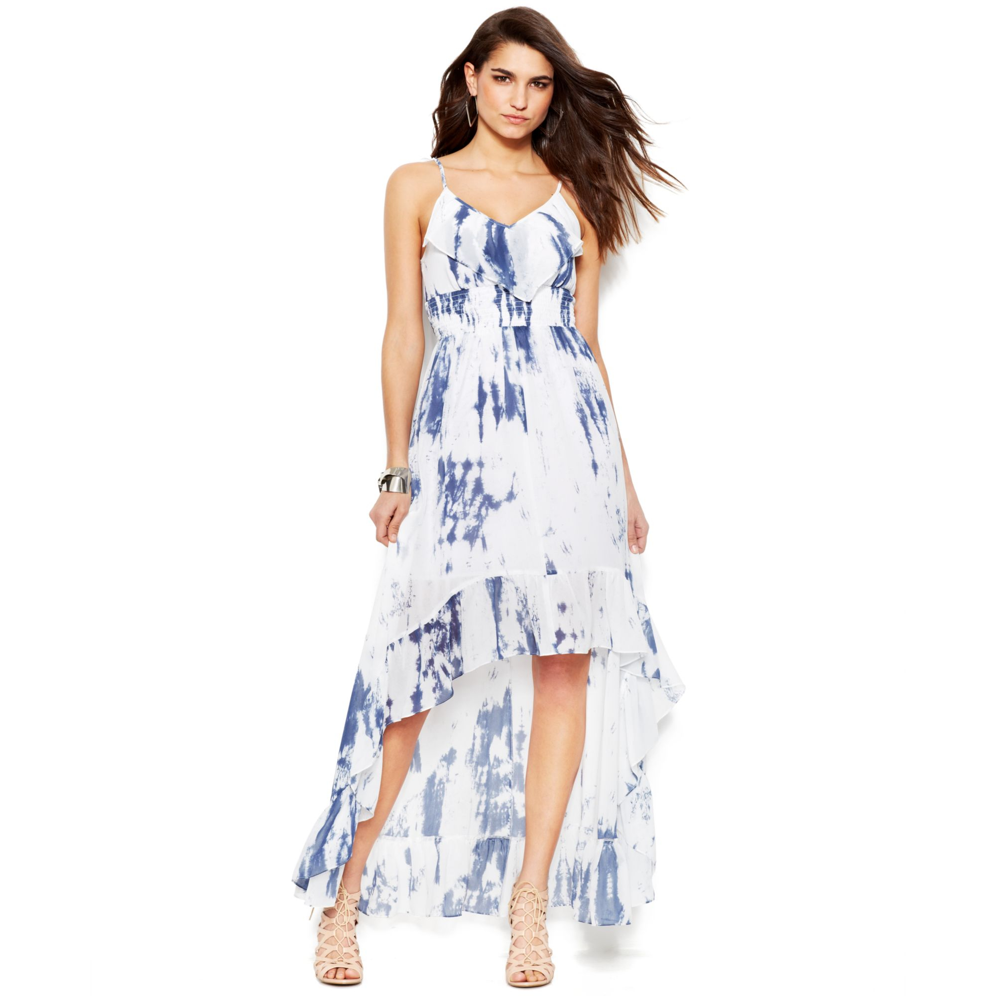 Lyst Guess Violet Tiedye Printed Maxi Dress