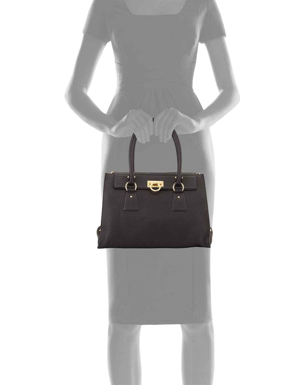 302318f513d4 Lyst - Ferragamo Lotty Medium Leather Satchel Bag in Black