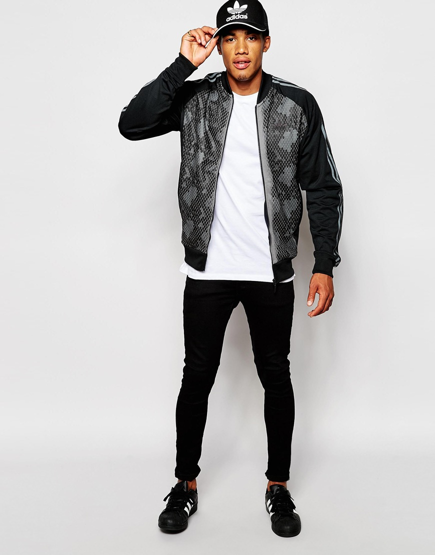 a492d330d6dd Lyst - adidas Originals Track Jacket With Snake Panel in Black for Men