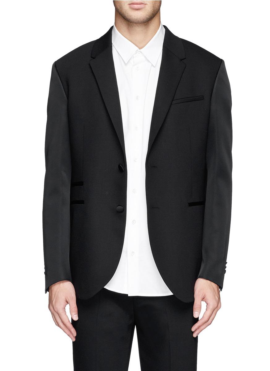 Lyst neil barrett satin sleeve virgin wool tuxedo jacket for Neil barrett tuxedo shirt