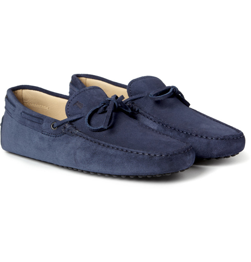 Tod's Gommino Suede Driving Shoes in Blue for Men | Lyst