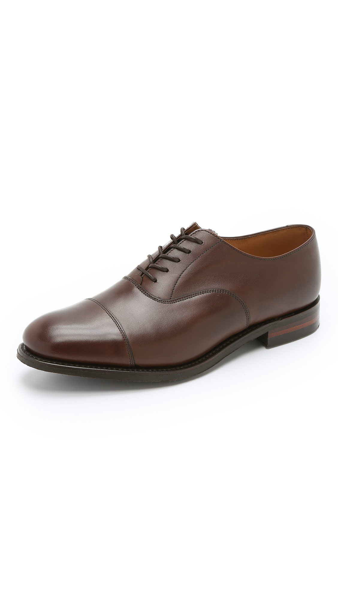 Brown Leather Oxford Shoes Rubber