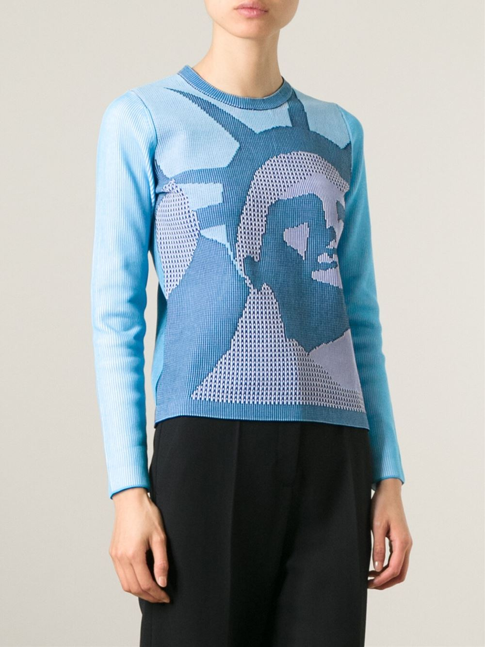 kenzo statue of liberty cotton blend sweater in blue lyst. Black Bedroom Furniture Sets. Home Design Ideas
