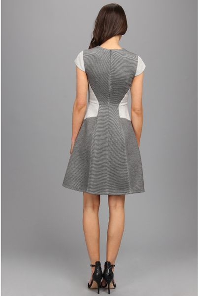 Rebecca Taylor Short Sleeve Ottoman Ponte Dress In Gray