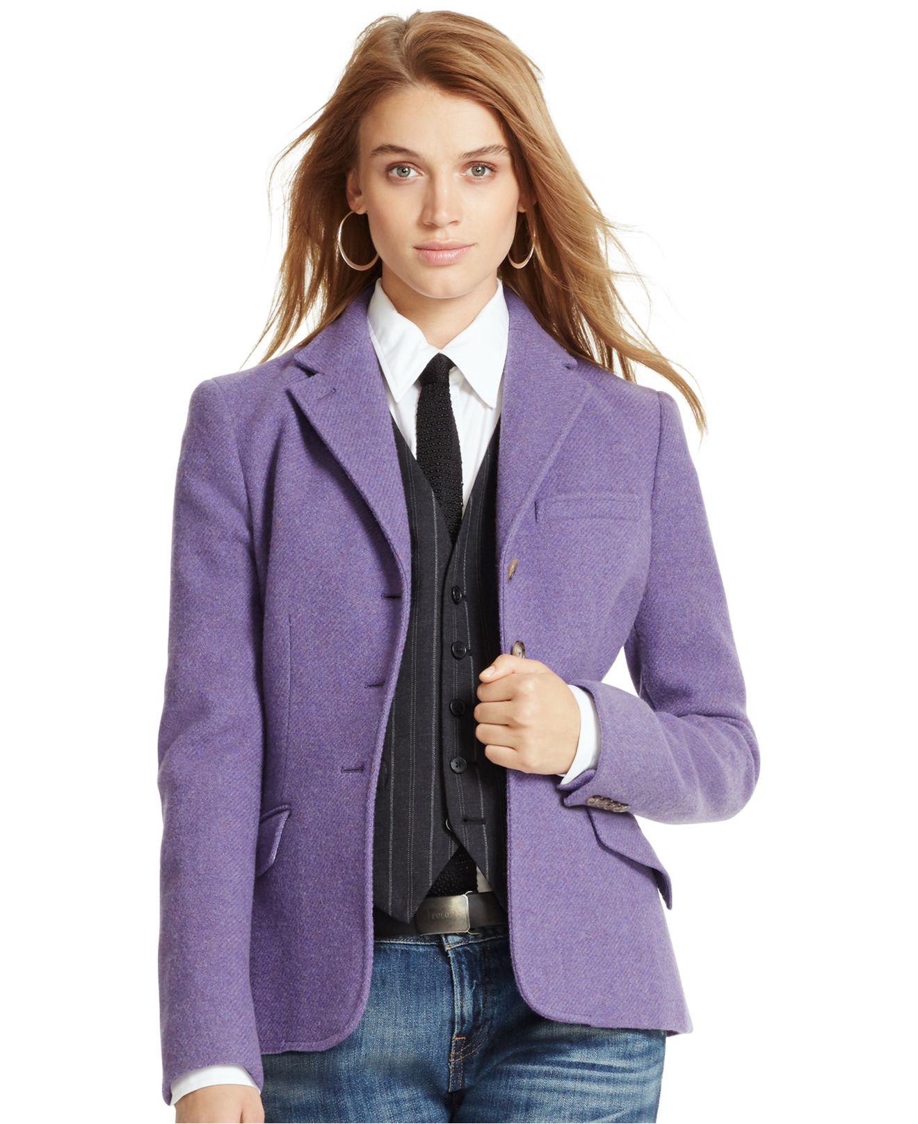 Polo ralph lauren Wool-alpaca-blend Jacket in Purple | Lyst