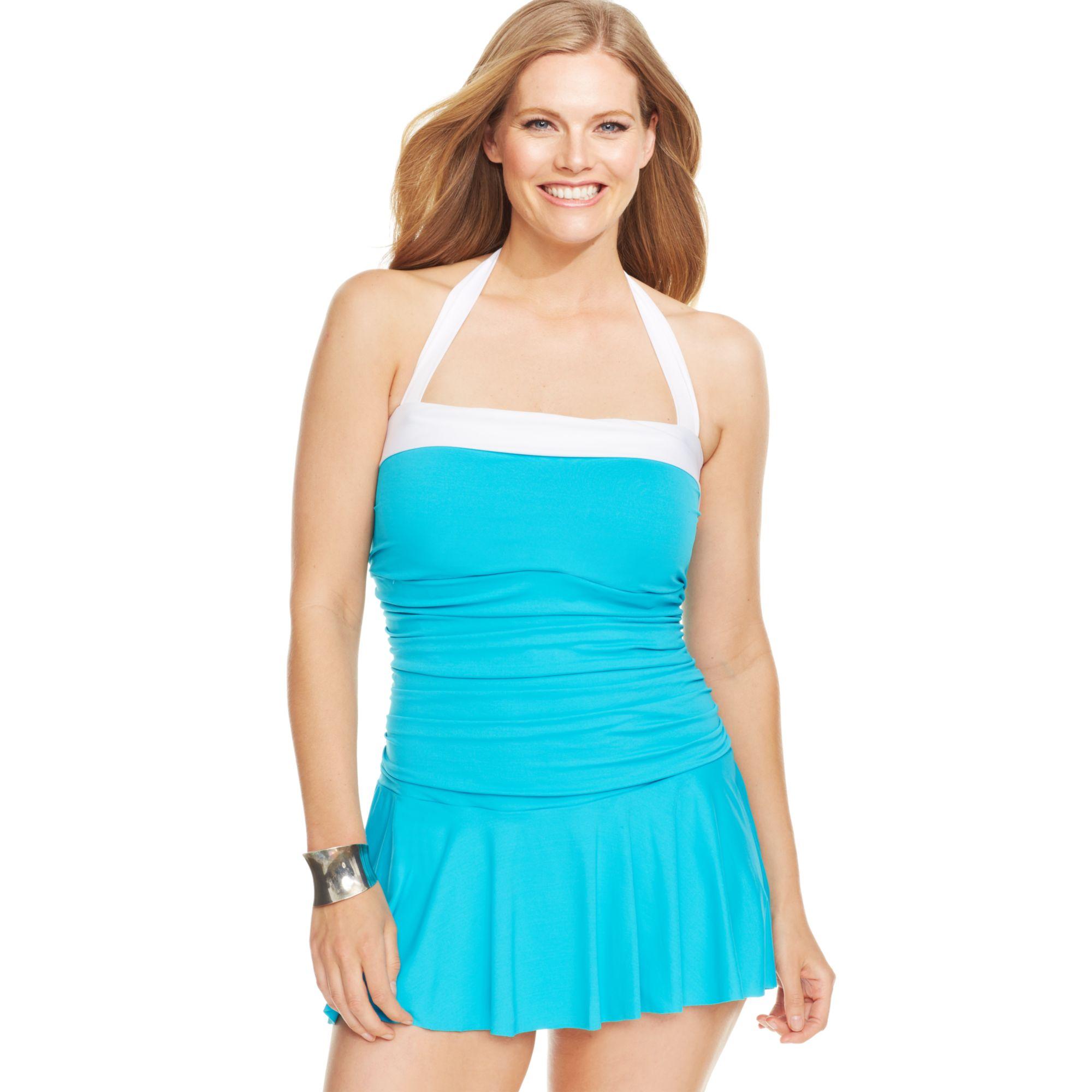 a08487cba7c99 Lyst - Lauren by Ralph Lauren Plus Size Colorblocked Halter ...