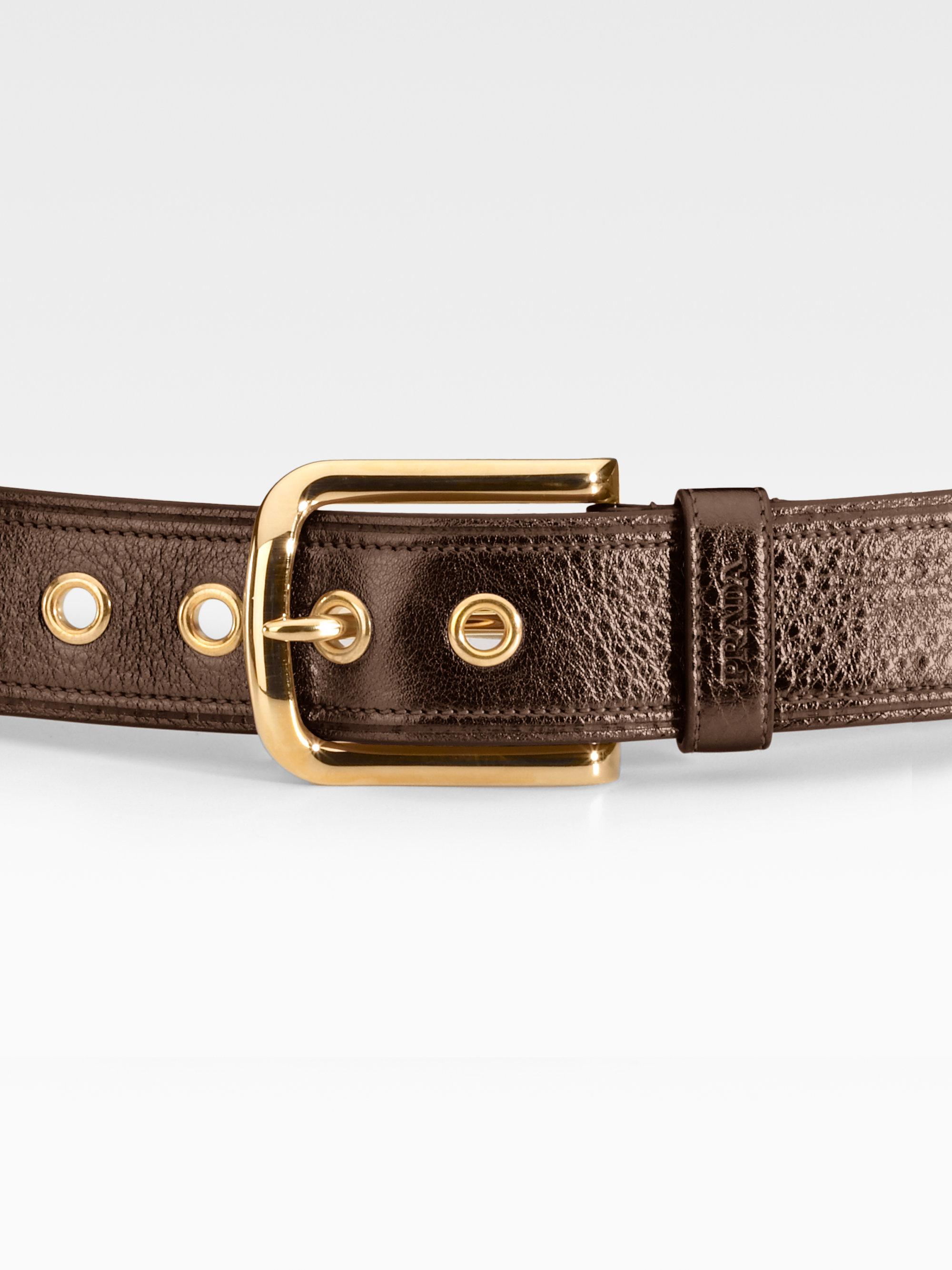 Prada Daino Belt in Black | Lyst