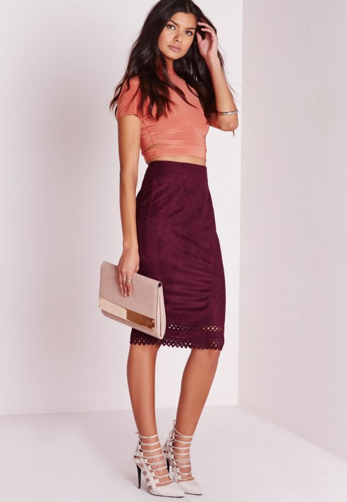 Burgundy Suede Skirt - Dress Ala