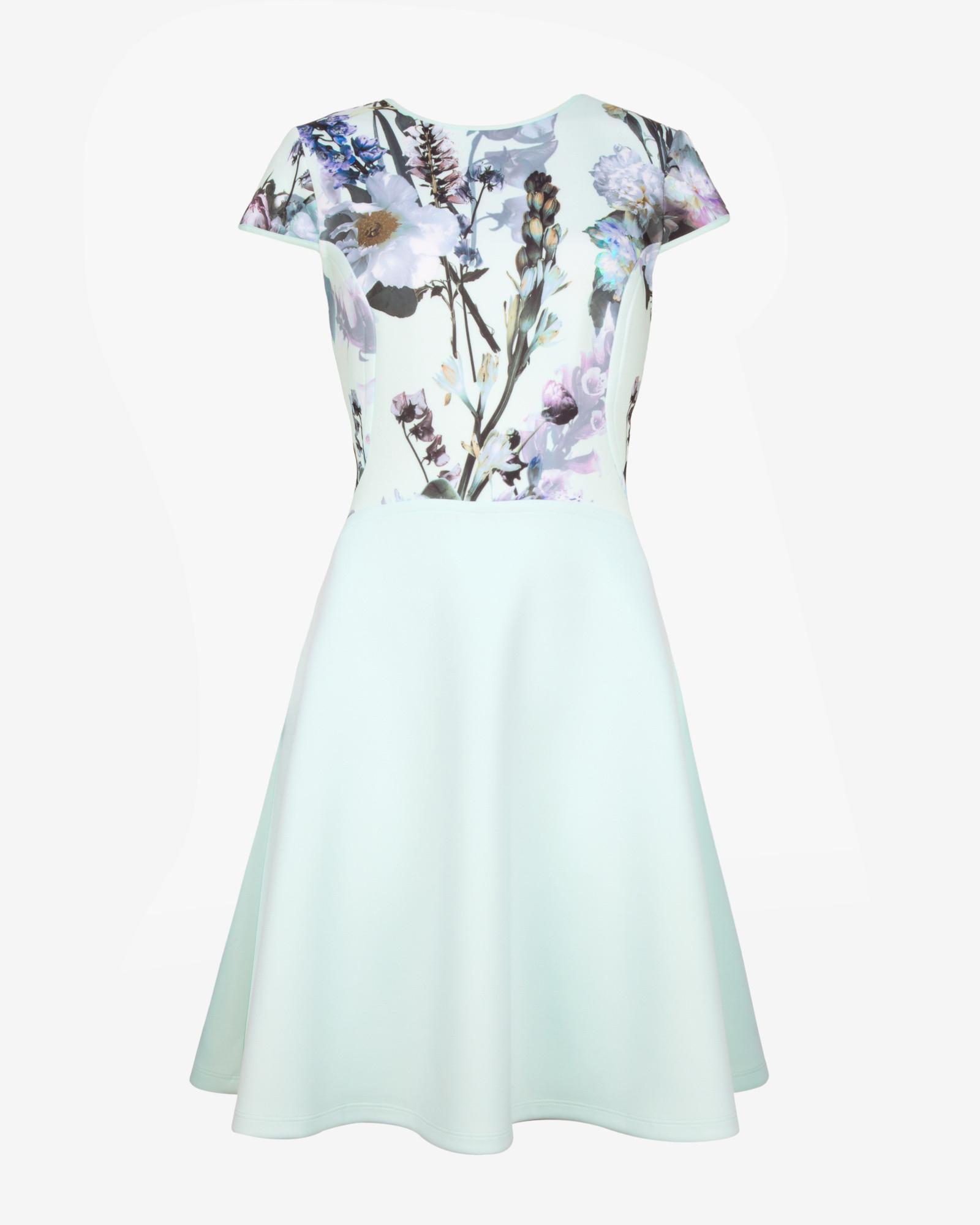 Lyst Ted Baker Torchlit Floral Print Skater Dress In Blue