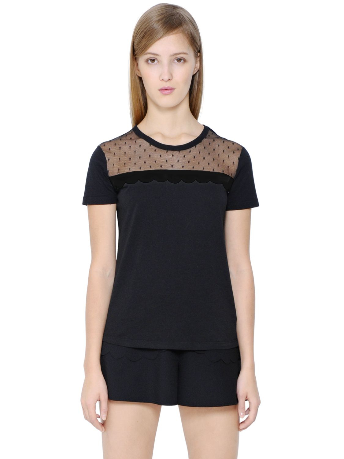 Lyst red valentino swiss dot tulle cotton t shirt in black for Red valentino t shirt
