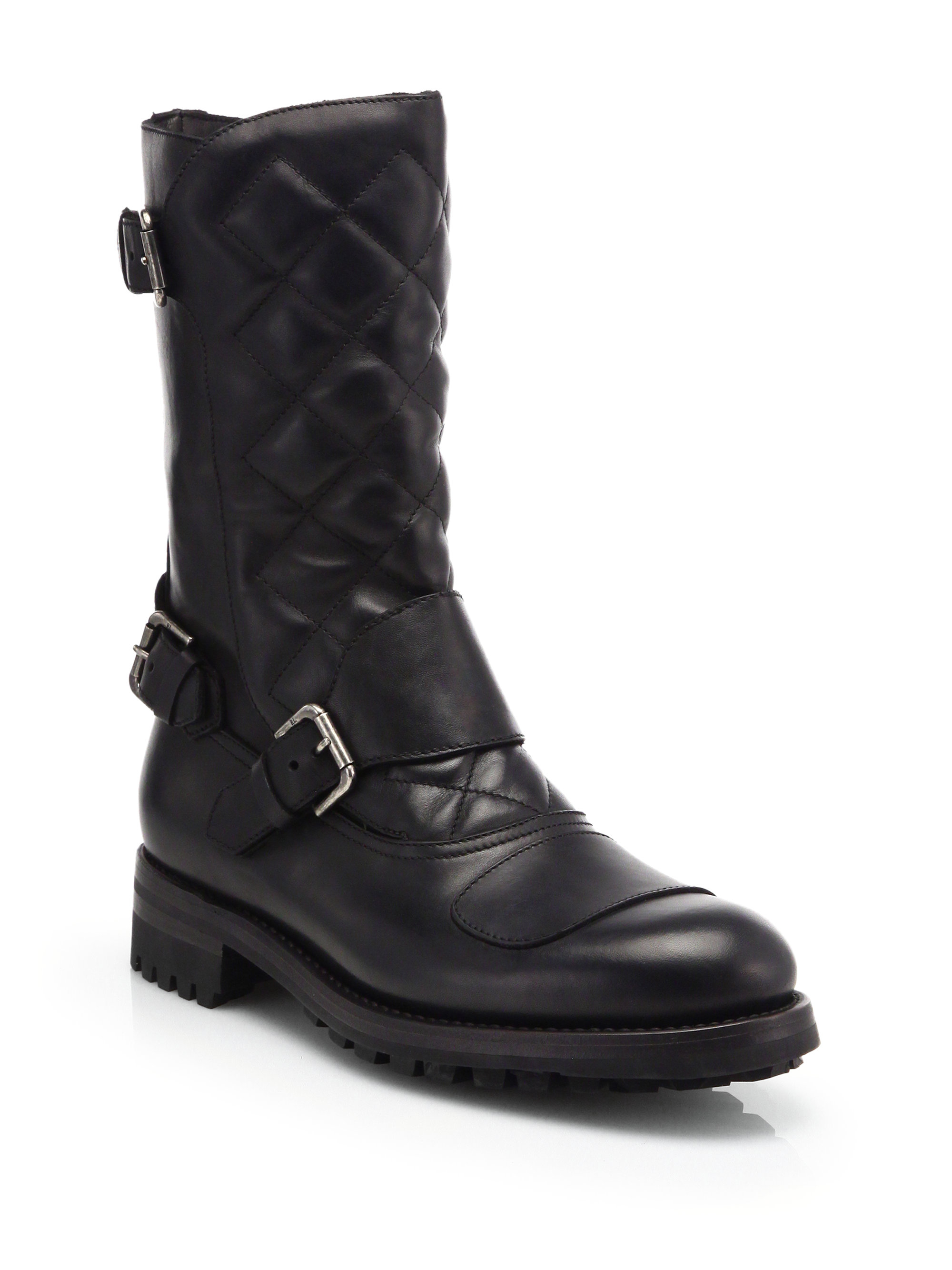 Black Red Quilted Shoes Ralph Lauren