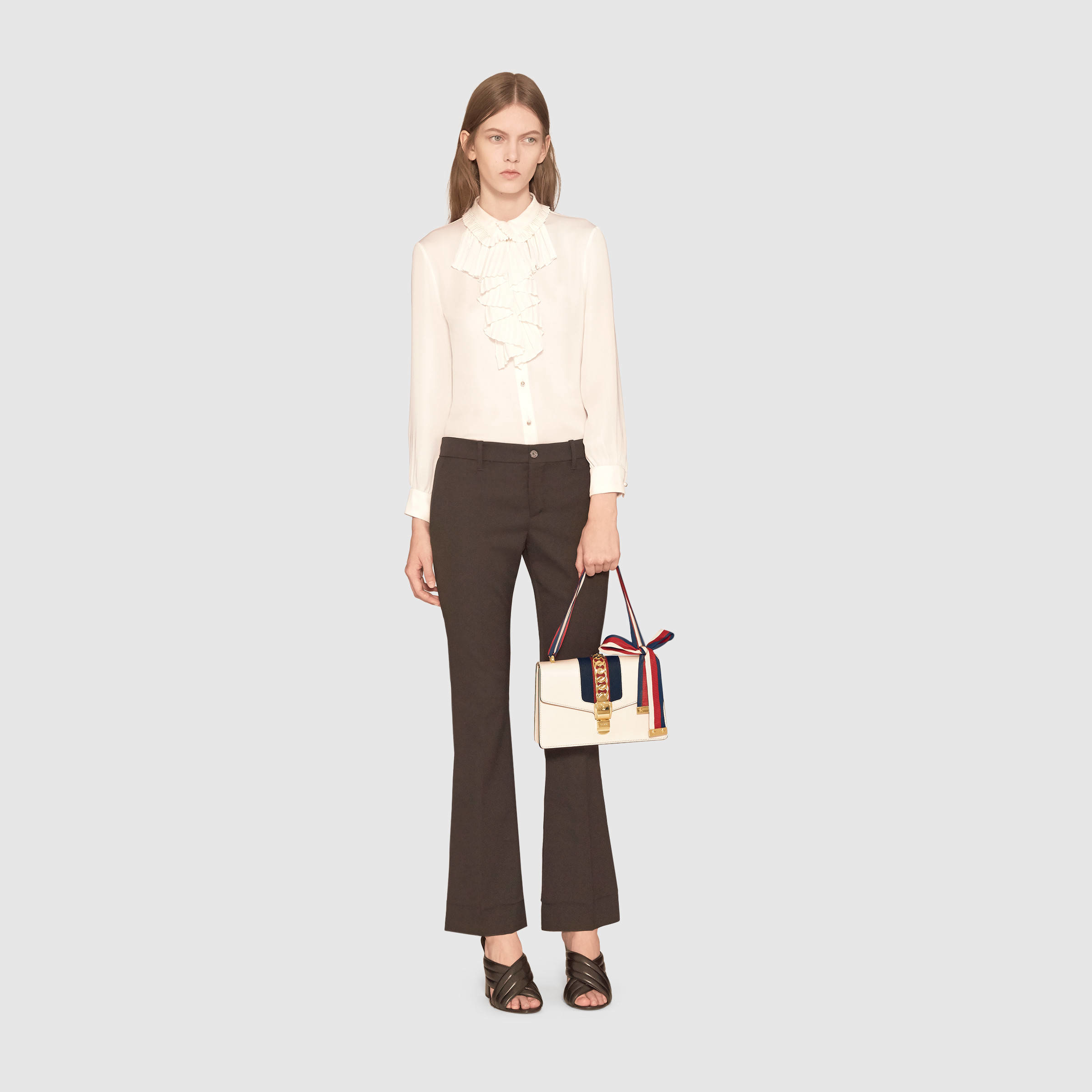 Gucci Sylvie Leather Shoulder Bag In White Lyst
