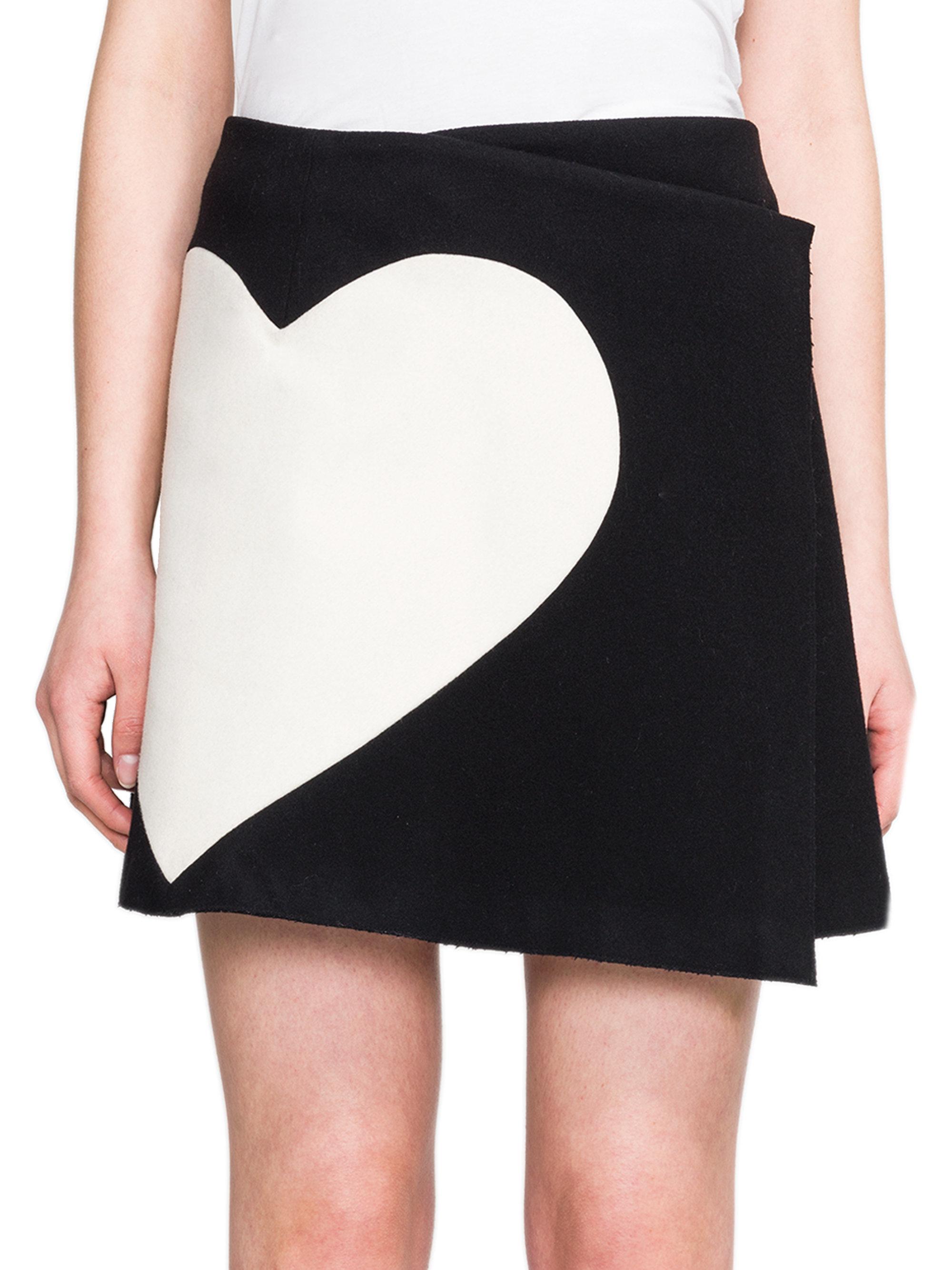 Msgm Heart-print Wrap Mini Skirt in Black   Lyst