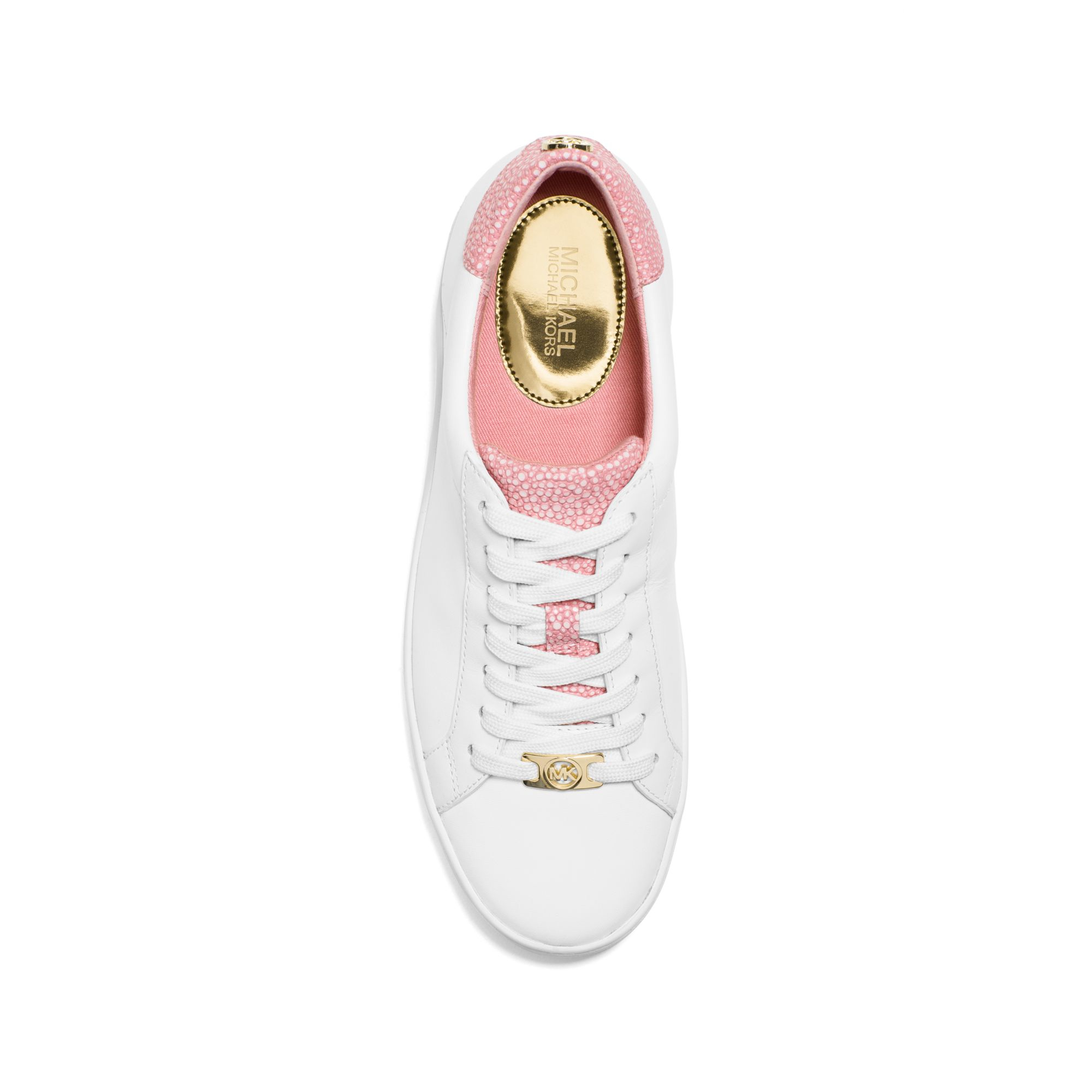 59d2dbef2767 Michael Kors Irving Leather Sneaker in Pink - Lyst