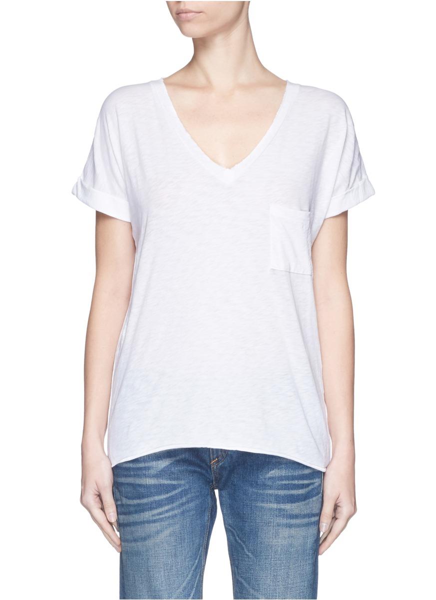 Rag bone chest pocket v neck cotton t shirt in white lyst for Rag and bone white t shirt