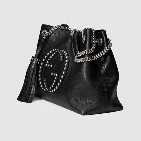 11b31992863 Lyst - Gucci Soho Studded Leather Shoulder Bag in Black