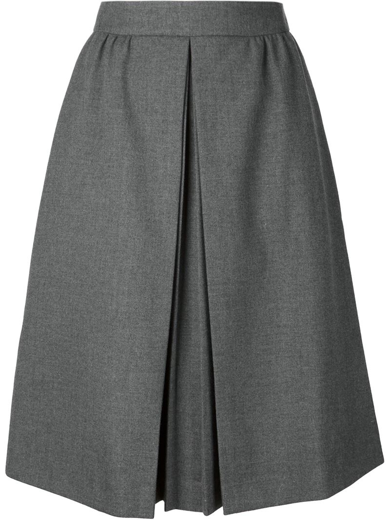viktor rolf pleated front a line skirt in gray grey lyst